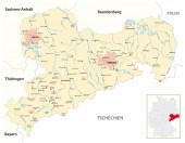 Vektorkarte des Freistaates Sachsen, Deutschland