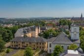 FRIEDBERG, DEUTSCHLAND-06. JULI 2017: Blick vom Adolfsturm des Schlosses auf die Stadt Friedberg, Hessen