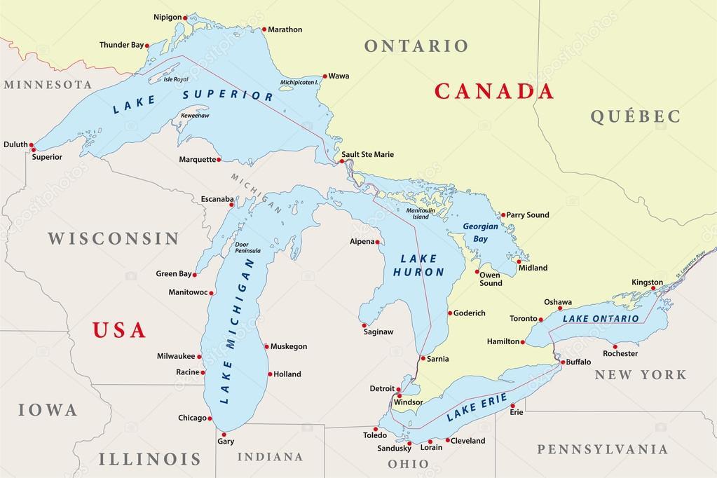 Karta Usa Sjoar.Karta Over Stora Sjoarna Stock Vektor C Lesniewski 51834813