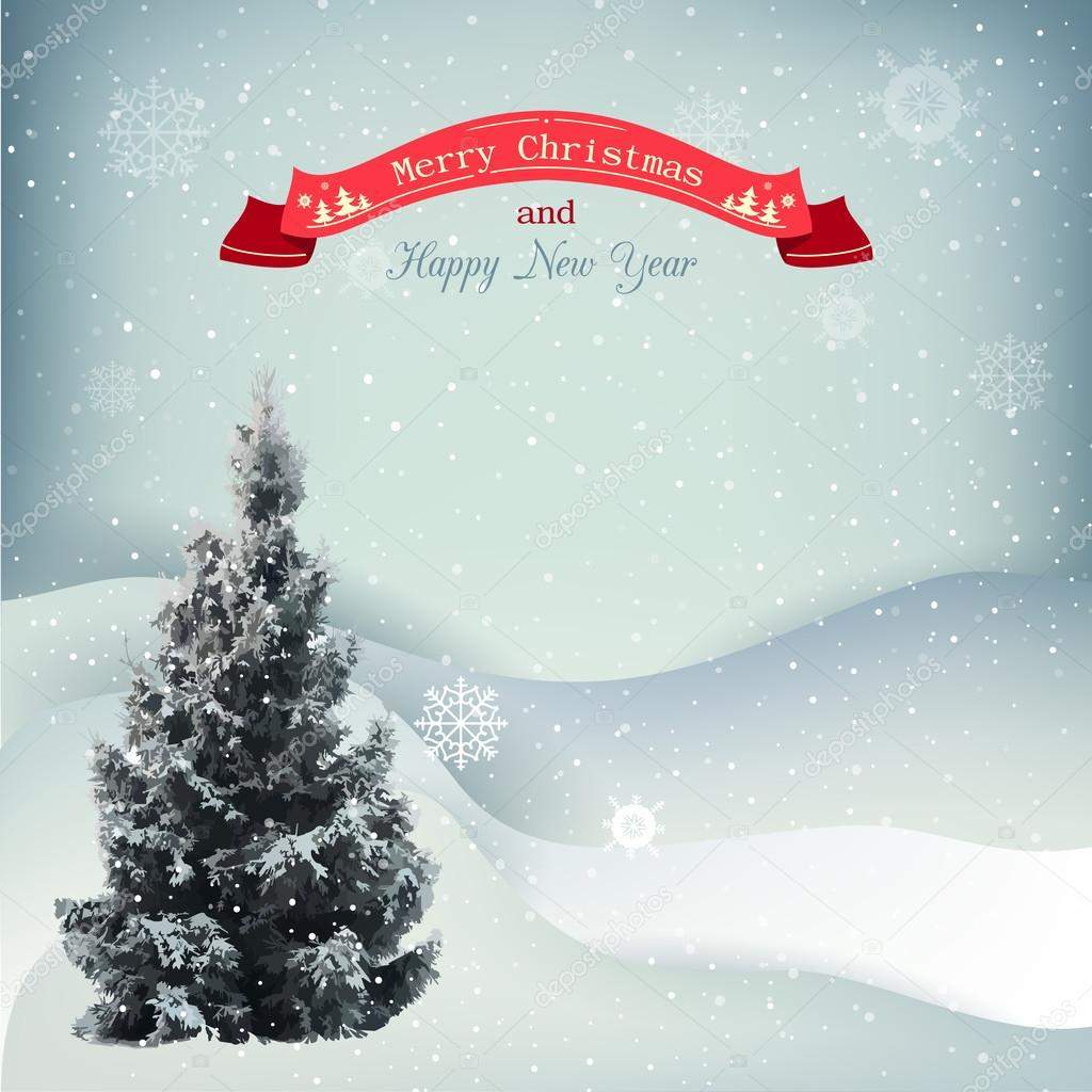 Winter Christmas landscape vector background with snow covered hills
