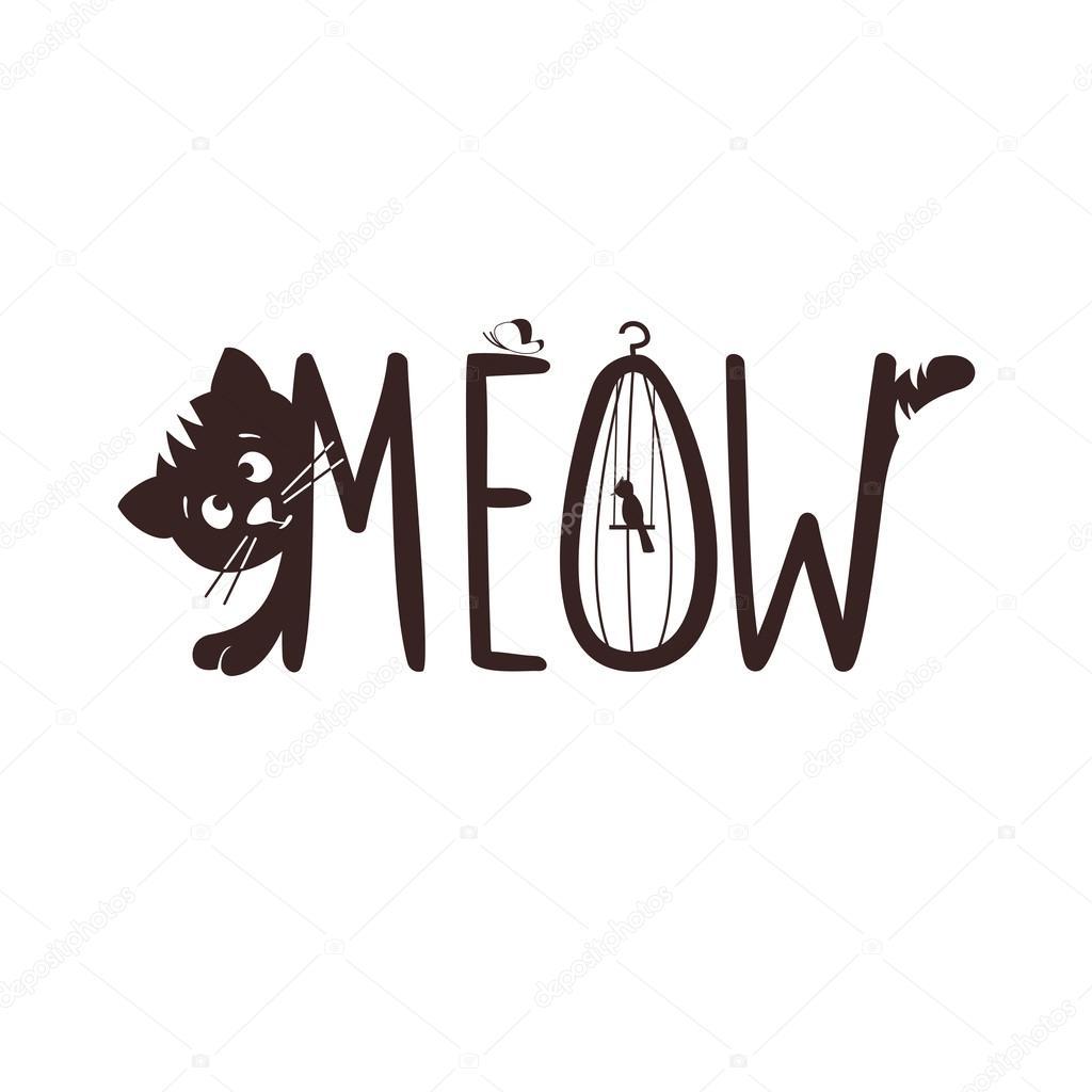 Illustrazione Vettoriale Di Un Gattino. Il Miagolio Del Gatto U2014 Vettoriale  Stock