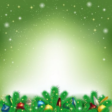 Christmas background with snowflakes and branches of the Christm