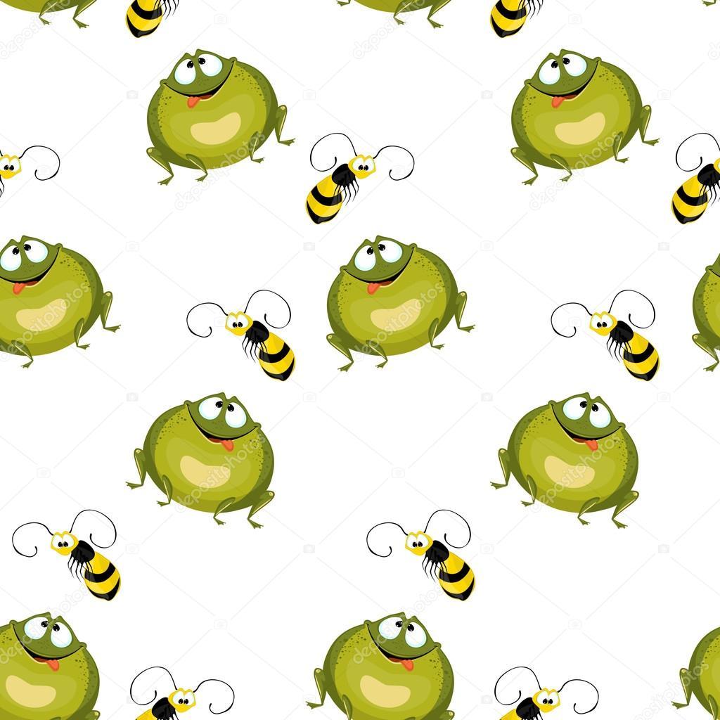 Fondo transparente de grandes ranas verdes y abejas volando — Vector ...