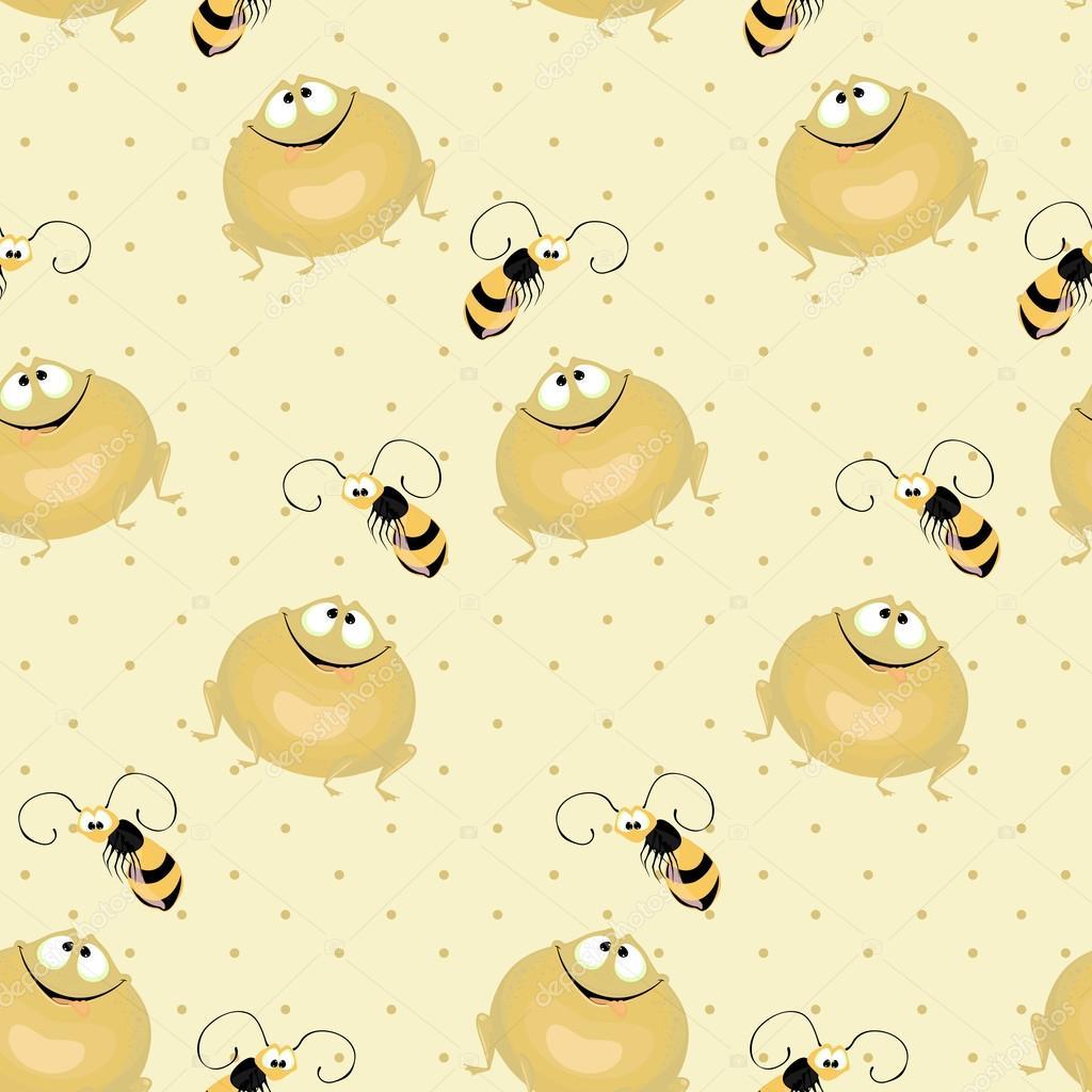 Fondo transparente, grandes ranas verdes y abejas volando — Vector ...