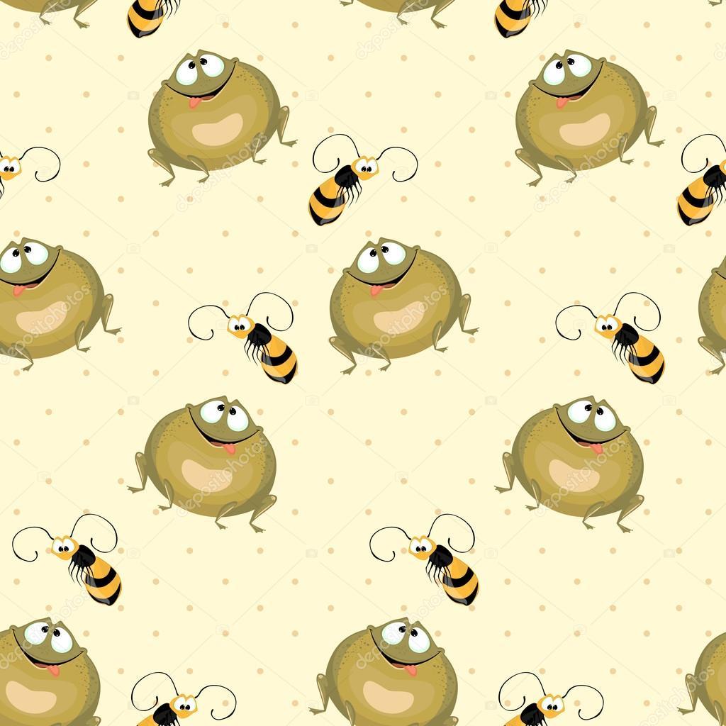 Fondo transparente. Rana verde grande y vuelo de las abejas ...