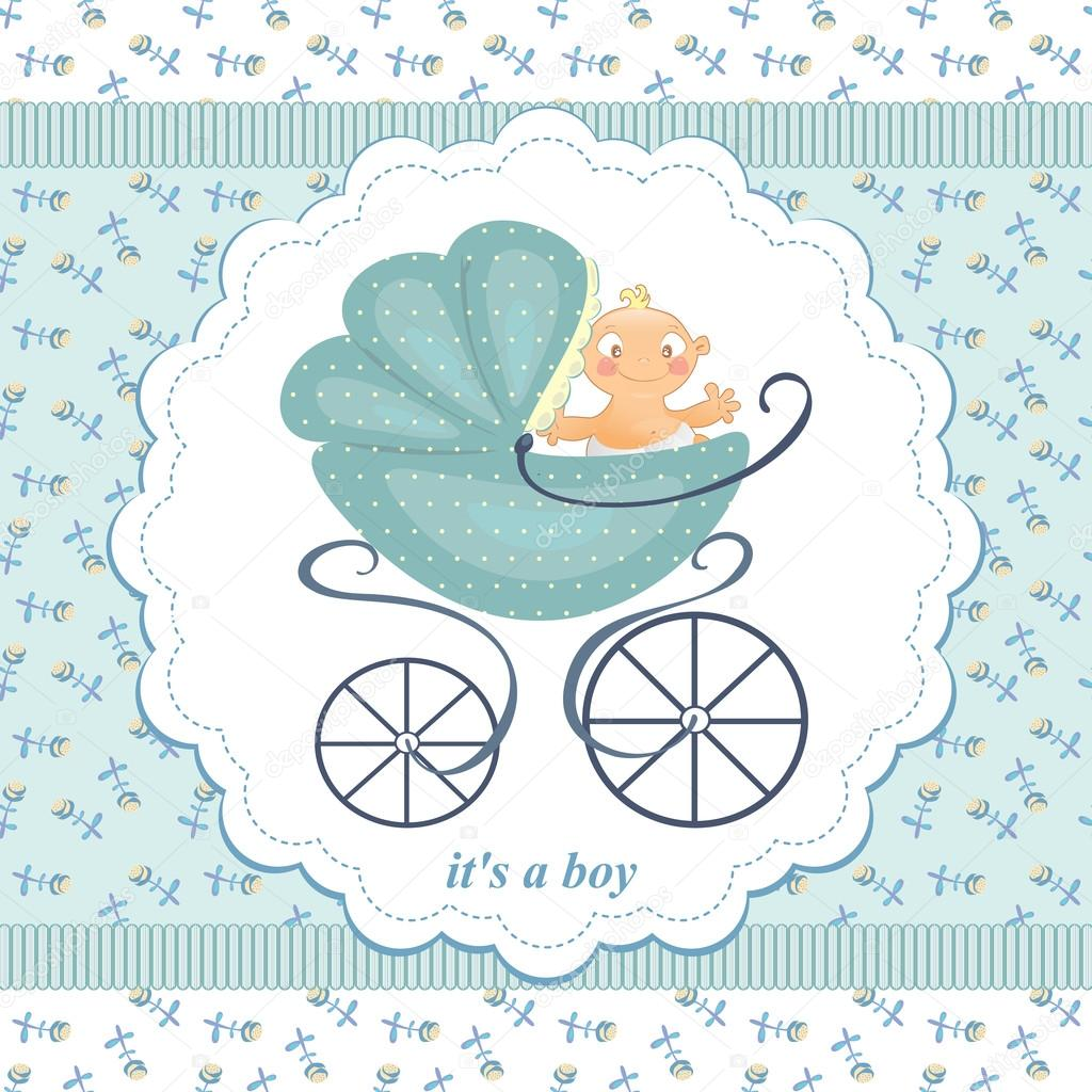 little boy stroller abstract background in child blue flowers