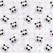 Fotografie seamless background of colored stars and muzzles pandas