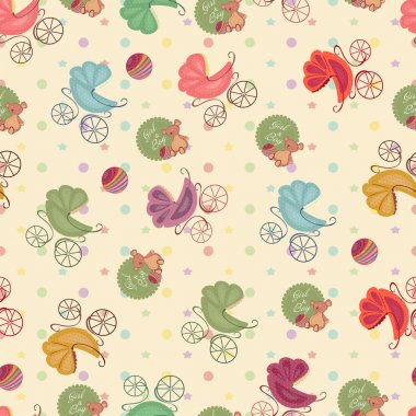 Color seamless children background of  stars, circles, different strollers, bear .