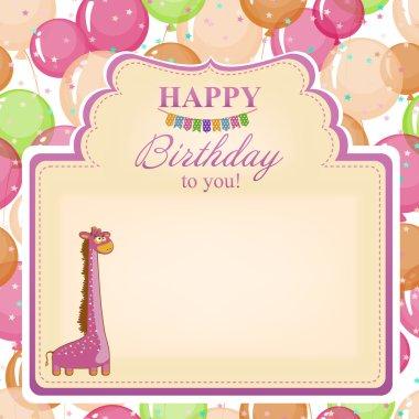 Childrens congratulatory background with a pink giraffe.