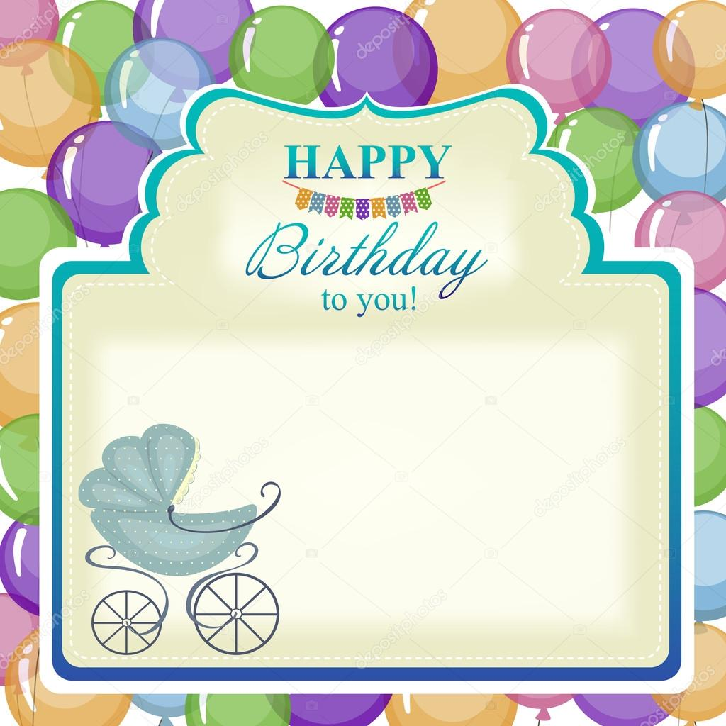Childrens greeting background with blue stroller.