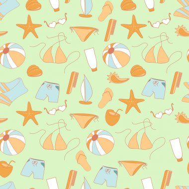Seamless pattern summer collection of swimwear, shorts, ball