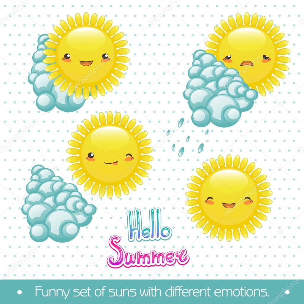 fun set of cartoon sun and clouds with different emotions.