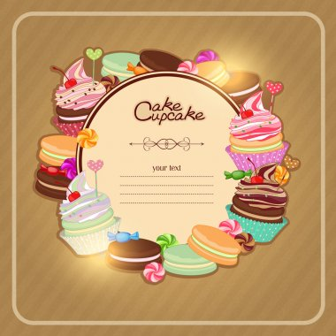 Illustration with pastries to the menu, bakeries, card.