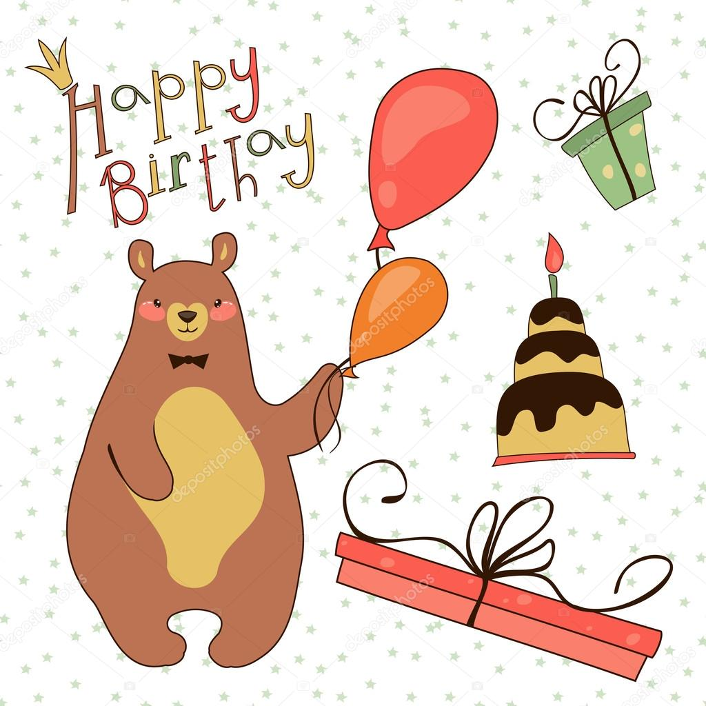Для, открытки с медведями к дню рождения