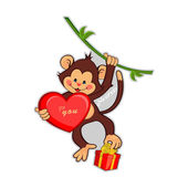 illustration of funny monkey with a big heart and gift.