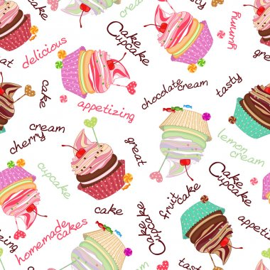 Composite background of the delicious cakes and cupcakes. Seamle