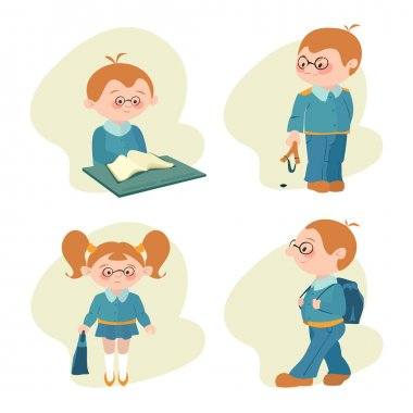 illustration of students, the children learn lessons