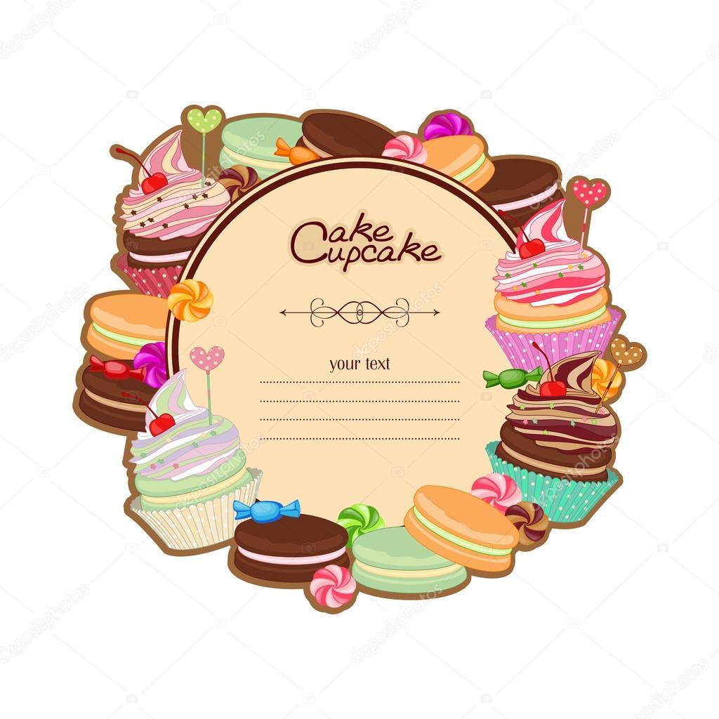 Marco de fondo la pastelería con el dibujo de dulces, postres ...
