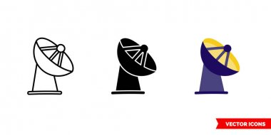 Radar station icon of 3 types. Isolated vector sign symbol. icon