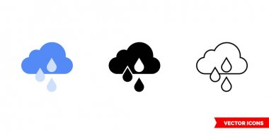 Cloud with rain icon of 3 types. Isolated vector sign symbol. icon