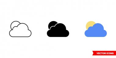 Cloudy icon of 3 types. Isolated vector sign symbol. icon