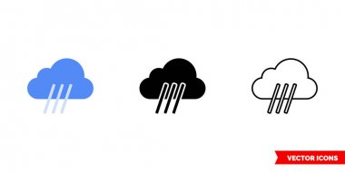 Downpour icon of 3 types. Isolated vector sign symbol. icon