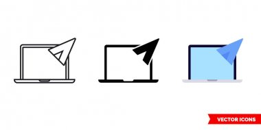 Laptop mail icon of 3 types. Isolated vector sign symbol. icon
