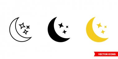 Moon and stars icon of 3 types. Isolated vector sign symbol. icon