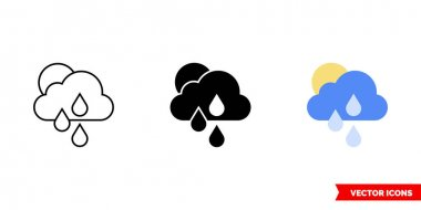 Sunny and rain icon of 3 types. Isolated vector sign symbol. icon