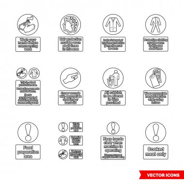 Health hygiene mandatory signs icon set of outline types. Icon pack. Isolated vector sign symbols. icon