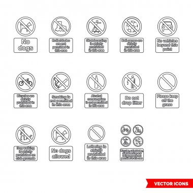 Community safety prohibitory signs icon set of outline types. Icon pack. Isolated vector sign symbols. icon