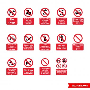 Community safety prohibitory signs icon set of color types. Icon pack. Isolated vector sign symbols. icon