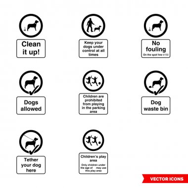 Community safety notice signs icon set of black and white types. Icon pack. Isolated vector sign symbols. icon