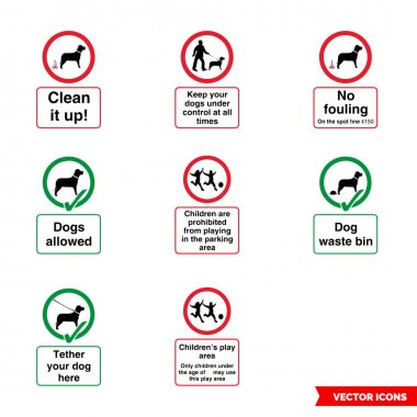 Community safety notice signs icon set of color types. Icon pack. Isolated vector sign symbols. icon