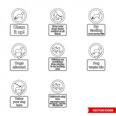 Community safety notice signs icon set of outline types. Icon pack. Isolated vector sign symbols. icon