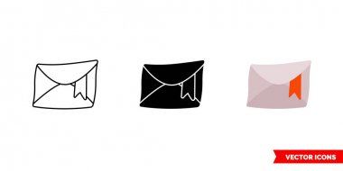 Marked mail icon of 3 types. Isolated vector sign symbol. icon
