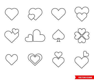 Set of hearts icons of outline type. Isolated vector sign. icon