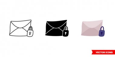 Unlock message icon of 3 types. Isolated vector sign symbol. icon
