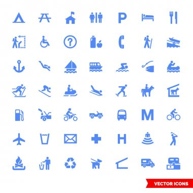 Map symbols icon set of color types. Isolated vector sign symbols.Icon pack. icon