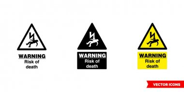 Warning risk of death icon of 3 types color, black and white, outline.Isolated vector sign symbol. icon