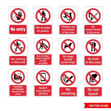 Prohibitory signs icon set of color types. Isolated vector sign symbols.Icon pack. icon