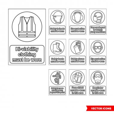 Mandatory signs icon set of outline types. Isolated vector sign symbols.Icon pack. icon