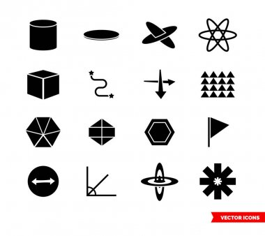 Geometry icon set of black and white types. Icon pack. Isolated vector sign symbols. icon