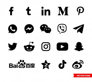 Social network icon set of black and white types. Icon pack. Isolated vector sign symbols. icon