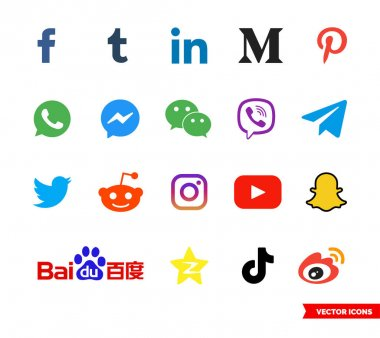 Social network icon set of color types. Icon pack. Isolated vector sign symbols. icon