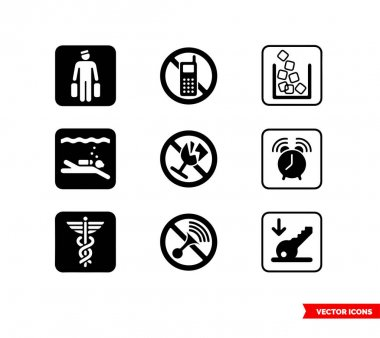 Hospitality symbol signs icon set of black and white types. Icon pack. Isolated vector sign symbols. icon