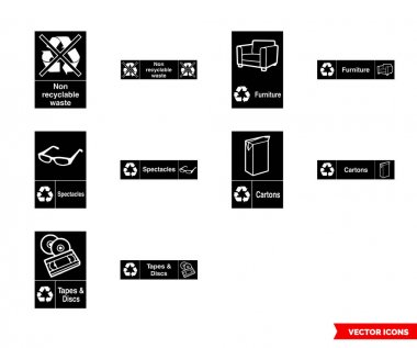 Other waste recycling signs icon set of color types. Isolated vector sign symbols.Icon pack. icon
