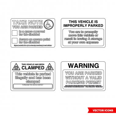 Parking offender adhesives signs icon set of outline types. Isolated vector sign symbols.Icon pack. icon