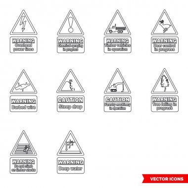 Forestry hazard signs icon set of outline types. Isolated vector sign symbols.Icon pack. icon