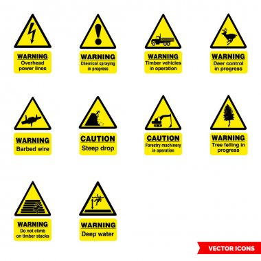 Forestry hazard signs icon set of color types. Isolated vector sign symbols.Icon pack. icon